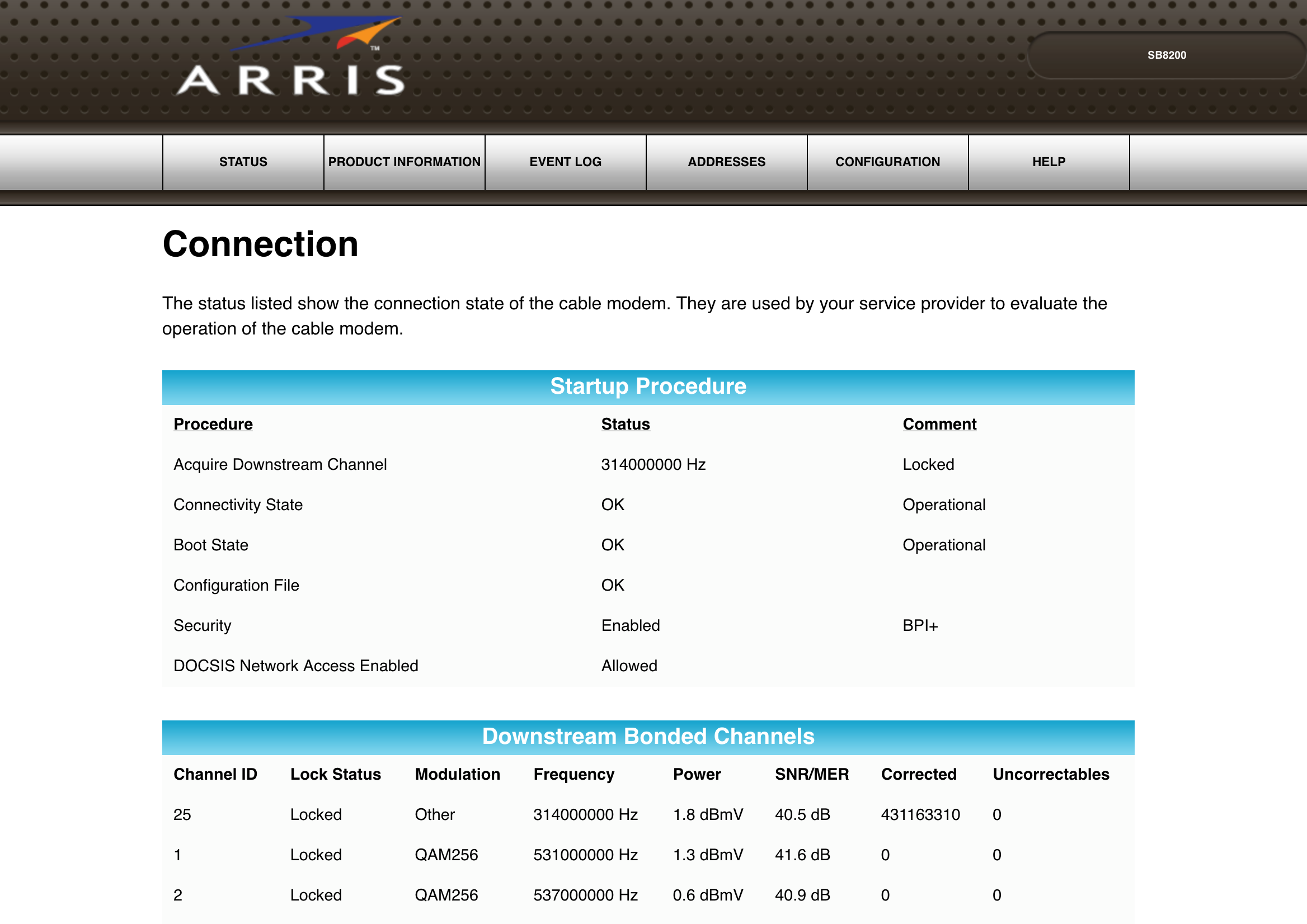 Arris SB8200 Web Interface