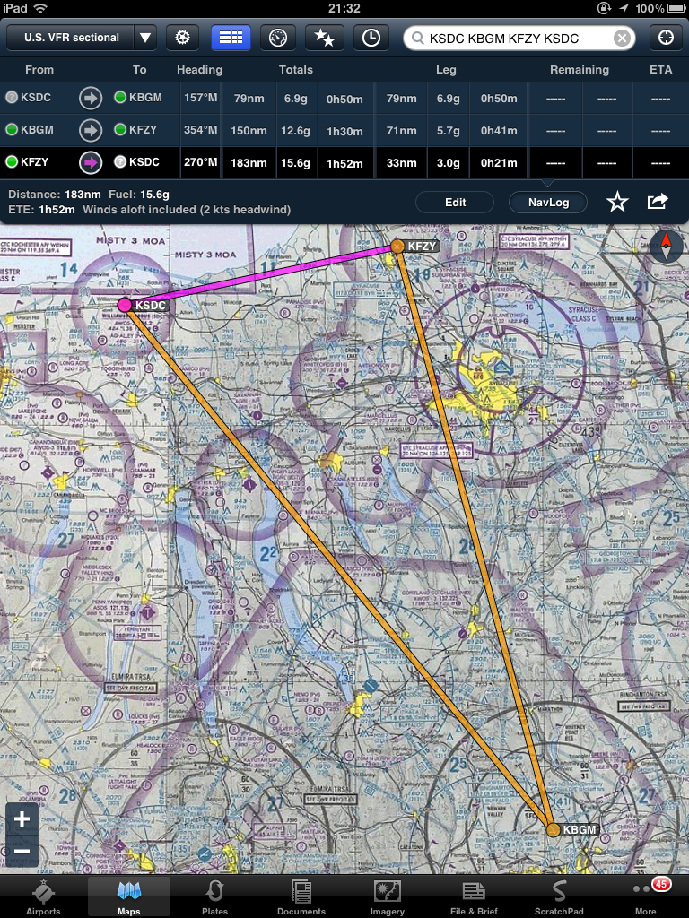 Flight plan for Williamson-Sodus to Binghamton to Oswego and back to Williamson-Sodus